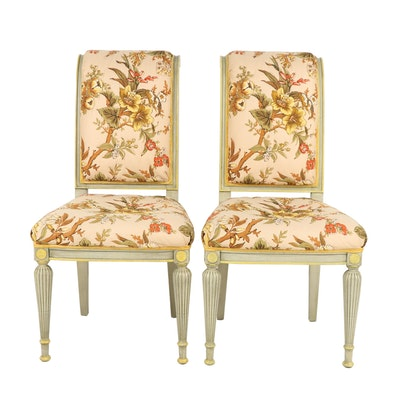 Pair of Contemporary Transitional Painted Wooden Upholstered Floral Side Chairs