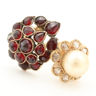 14K Yellow Gold Cultured Pearl, Diamond and Garnet Bypass Ring