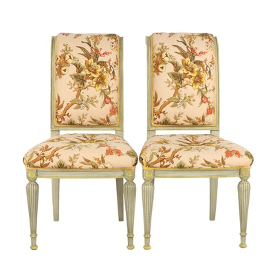 French Style Floral Upholstered Side Chairs