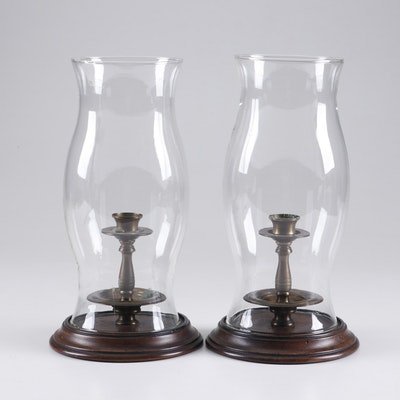Mahogany and Brass Hurricane Candlestick Lamps, A Pair