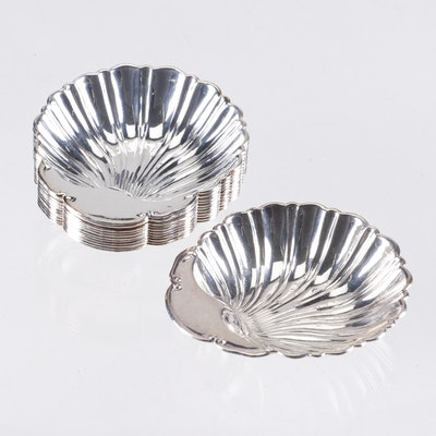 Crescent Silver Plate Scallop Shell Nut Dishes, Set of 12
