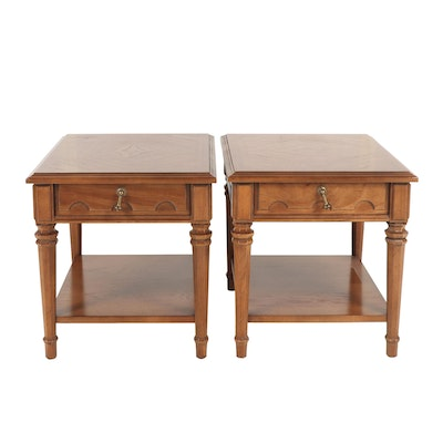 Pair of Drexel Fruitwood Side Tables, 1970s