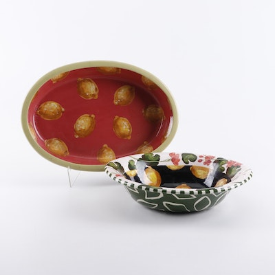 Droll Designs Hand-Painted Ceramic Serving Bowls, Late 20th Century
