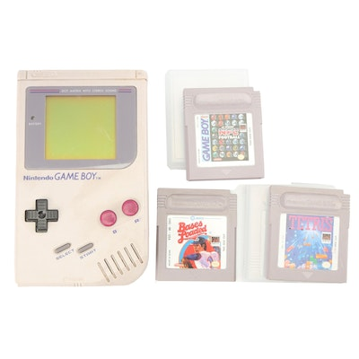 Nintendo Game Boy with Tetris, NFL Football and Bases Loaded Games