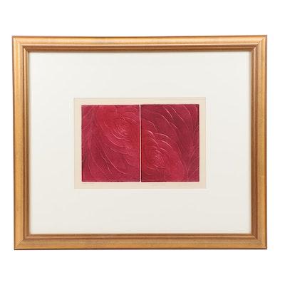 "Cynthia Cukla Aquatint Etching ""Two Roses #1"""
