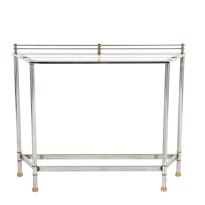 Contemporary Chromed Metal and Glass Console Table