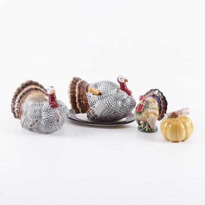 Ceramic Turkey and Pumpkin Salt & Pepper Shakers, Cranberry Bowl, and Gravy Boat