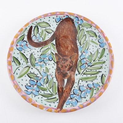 Hand-Painted Ceramic Platter with Cat Motif