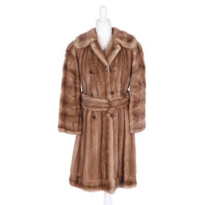 Pastel Mink Fur Double-Breasted Coat with Rhinestone Encrusted Belt, Vintage