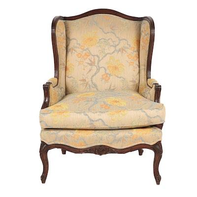 Henredon George III Rococo Style Upholstered and Wood Wingback Chair