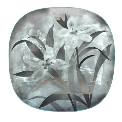 Floral Etched Glass Table Top, Late 20th Century