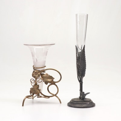 Victorian Period Bud Vases Featuring Etched Glass and Silver Plate