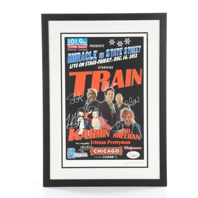 "Autographed Ed Sheeran & Train Poster From Chicago ""Miracle on State Steet"""