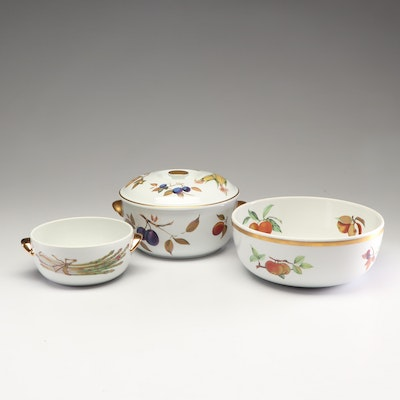 "Royal Worcester ""Evesham"" Porcelain Ovenware and Mixing Bowl, 1960s"