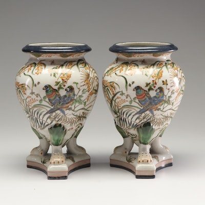 Pair of Footed Ceramic Vases