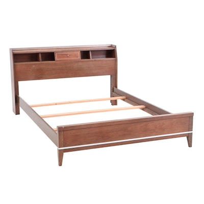 Mid Century Modern Walnut Queen Sized Bed Frame with Slats