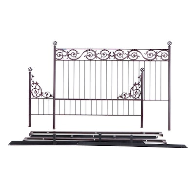 Wrought Iron King Size Bed With Rails, Contemporary
