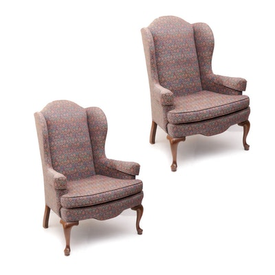 Ethan Allen Queen Anne Style Wing Back Armchairs, Late 20th Century