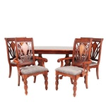 Contemporary Transitional Mahogany Finish Wooden Dining Table and Six Chairs
