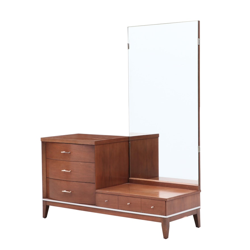 Walnut Dressing Table with Mirror, Mid-Century