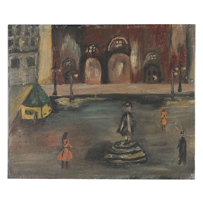 Mid 20th Century Townscape Oil Painting