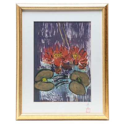 East Asian Relief Print of Red Lotus Blooms