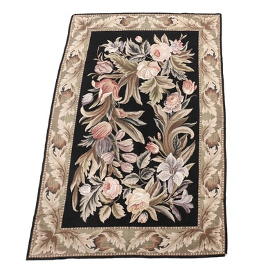 Machine Made Needlepoint Floral Rug with Acanthus Border