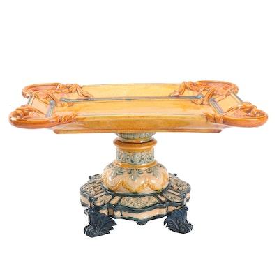 Chinese Replica Majolica Pedestal Tray
