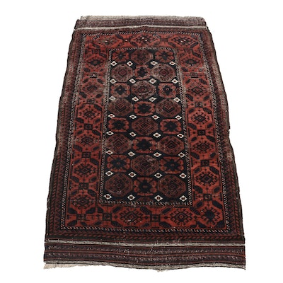Hand-Knotted and Embroidered Persian Baluch Wool Rug