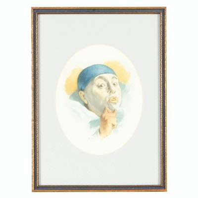 Armand Henrion Hand-Tinted Etching of Clown Portrait