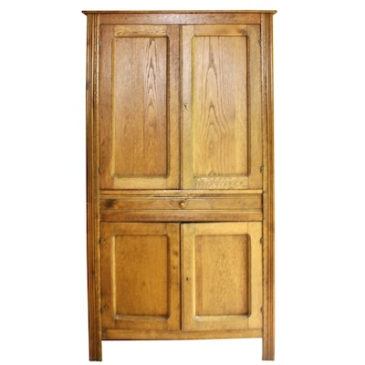 Late Victorian Oak Four-Tin Pie Safe Cupboard, Late 19th/Early 20th Century