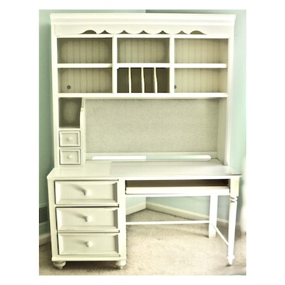 Stanley Furniture White-Painted Wooden Desk and Bookcase