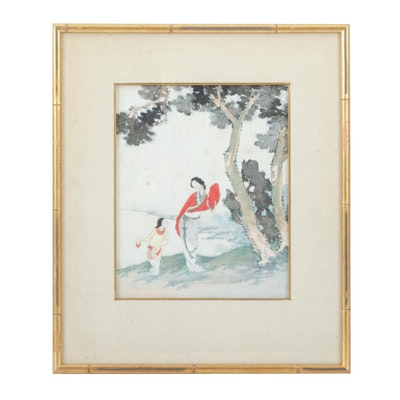 Chinese Watercolor on Silk of Mother and Child