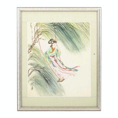Chinese Gouache Painting of Woman on Swing