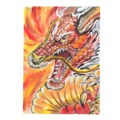 "Volodymyr Strutsenko Gouache Painting ""Dragon"""