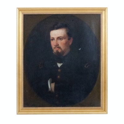 19th Century Portrait of a Soldier Oil Painting