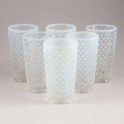 "Fenton Glass ""Hobnail French Opalescent"" Tumblers, Mid 20th Century"