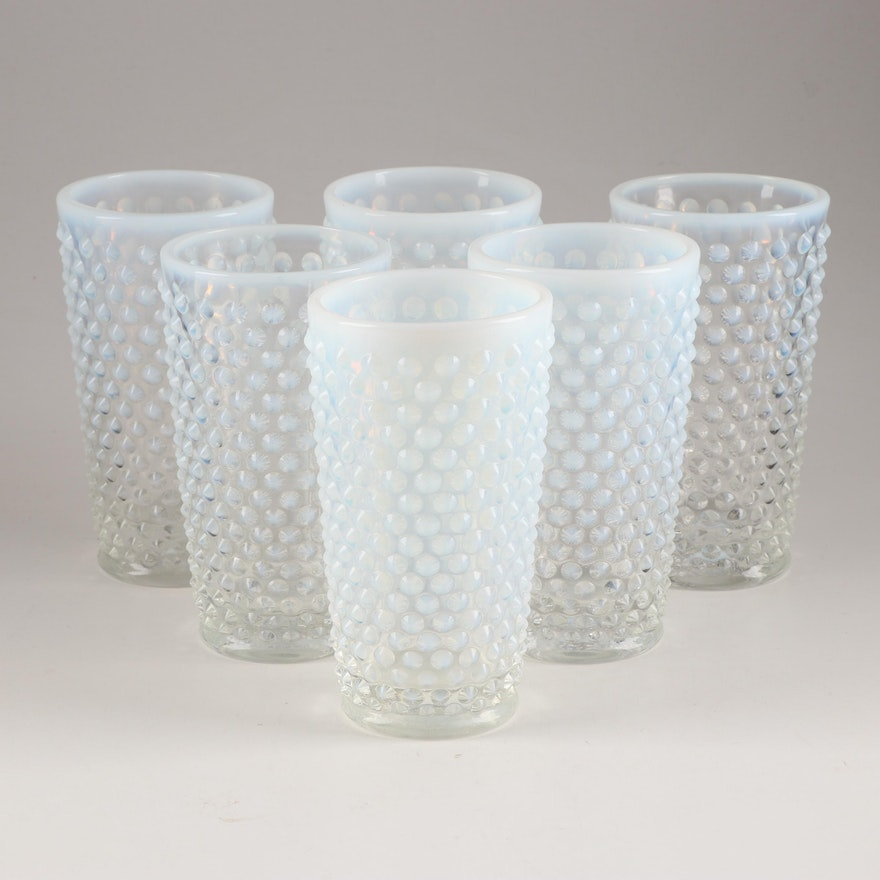 """Fenton Glass """"Hobnail French Opalescent"""" Tumblers, Mid 20th Century"""