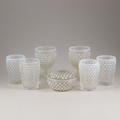 """Fenton """"Hobnail French Opalescent"""" Tumblers, Stemware, and Powder Jar"""