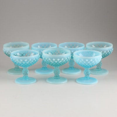 "Fenton ""Hobnail Blue Opalescent"" Champagne Sherbet Glasses, Mid 20th Century"