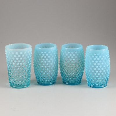 """Fenton """"Hobnail Blue Opalescent"""" Tumblers, Mid 20th Century"""