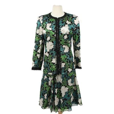 Hanae Mori Paris Beaded Floral Silk Skirt Suit