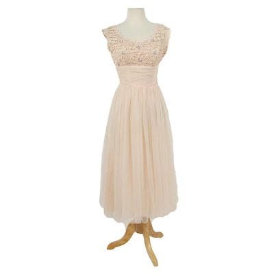 Embellished Blush Lace and Ruched Chiffon Sleeveless Tea Dress