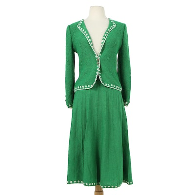 Adolfo New York Knit Skirt Suit in Green with White Trim, 1980s Vintage
