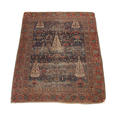 4'2 x 5'5 Hand-Knotted Persian Afshar Rug, circa 1920
