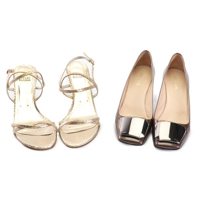 Prada Taffetas Glamour Pumps and Stuart Weitzman Snakeskin Embossed Strap Heels