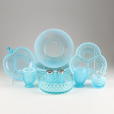 "Fenton Glass ""Blue Opalescent Hobnail"" Salad Plates and Table Serveware,"