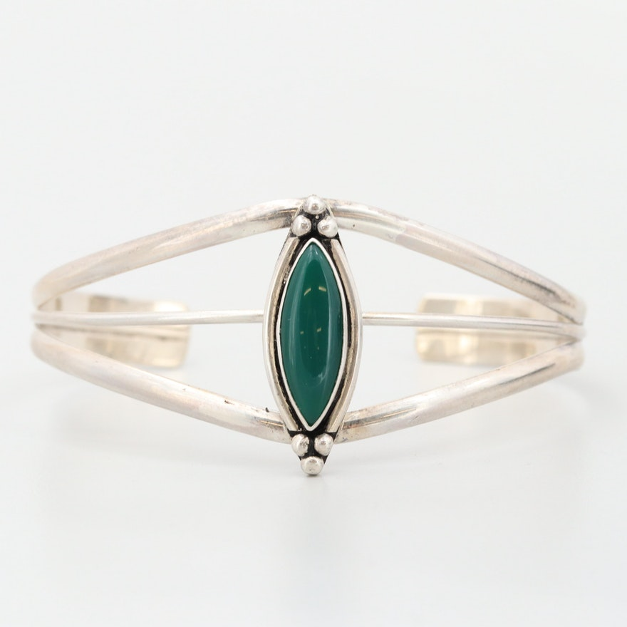 Southwestern Style Sterling Silver Green Chalcedony Cuff Bracelet