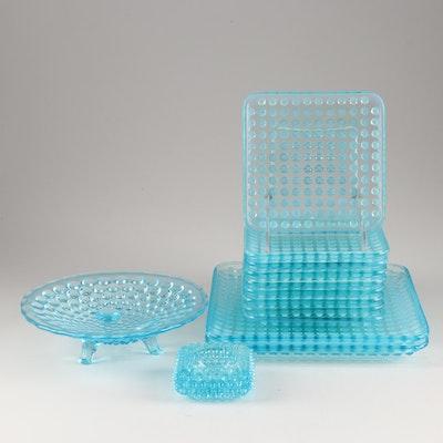 """Fenton """"Hobnail Blue Opalescent"""" Square Plates"""