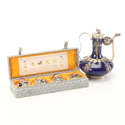 Chinese Reverse Painted Snuff Bottles with Metalwork Teapot Vase